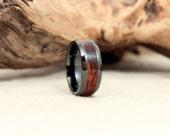 Black Ceramic Ring with Exhibition Arizona Desert Ironwood Burl