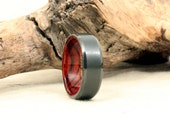 Black Zirconium Wood Ring Lined with Exhibition Mexican Cocobolo Rosewood Wood Ring