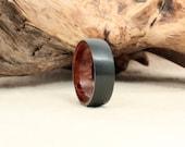 Black Zirconium Wood Ring Lined with Redwood Burl