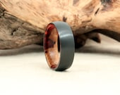 Black Zirconium Wood Ring Lined with Amboyna Burl Heartwood and Sapwood