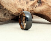 Black Zirconium Wood Ring Lined with Spalted Tamarind Wood