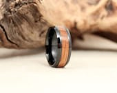 Black Ceramic Ring with Whiskey Barrel White Oak Wooden Inlay Bourbon Ring
