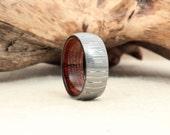 Wood Ring - Hawaiian Koa Wooden Ring Damascus Steel Ring - Damascus Steel
