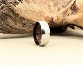 Cobalt Wooden Ring Lined with Hawaiian Kou