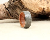 Damascus Steel and Wood Ring - Bourbon Barrel White Oak Stave Wood Ring Damascus Steel Ring