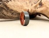 Black Zirconium Wood Ring Lined with Black Cherry Burl