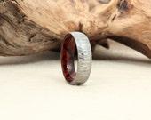 Damascus Steel and Wood Ring - Arizona Desert Ironwood Burl Wooden Ring Damascus Steel Ring