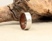 Diamond Inlay Cobalt Wooden Ring Lined with USS North Carolina Deck Teak