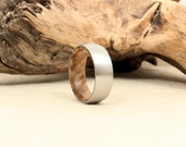 Cobalt Wooden Ring Lined with California Bay Laurel Burl