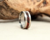 Gold Pinstripe Wood Inlay Ring and Titanium