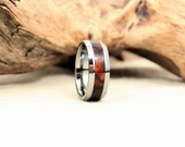Tungsten Carbide Ring with Mexican Cocobolo Rosewood Inlay Wooden Ring
