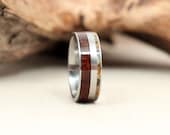 Hybrid Royal Walnut Wood Ring and Baltic Amber Deconstructed Titanium Ring