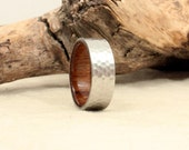 Wooden Ring Lined with USS North Carolina Deck Teak - Hammered Cobalt