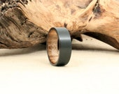 Black Zirconium Wooden Ring Lined with Grey Spalted Maple