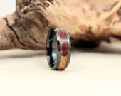 Black Ceramic Ring with Amboyna Burl Heartwood and Sapwood