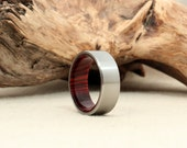 Titanium Wood Ring Lined with Cocobolo Rosewood