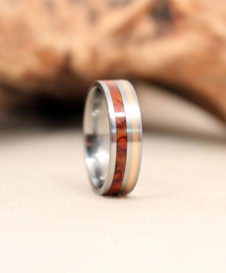 Gold Wooden Ring with Amboyna Burl and Titanium image 0
