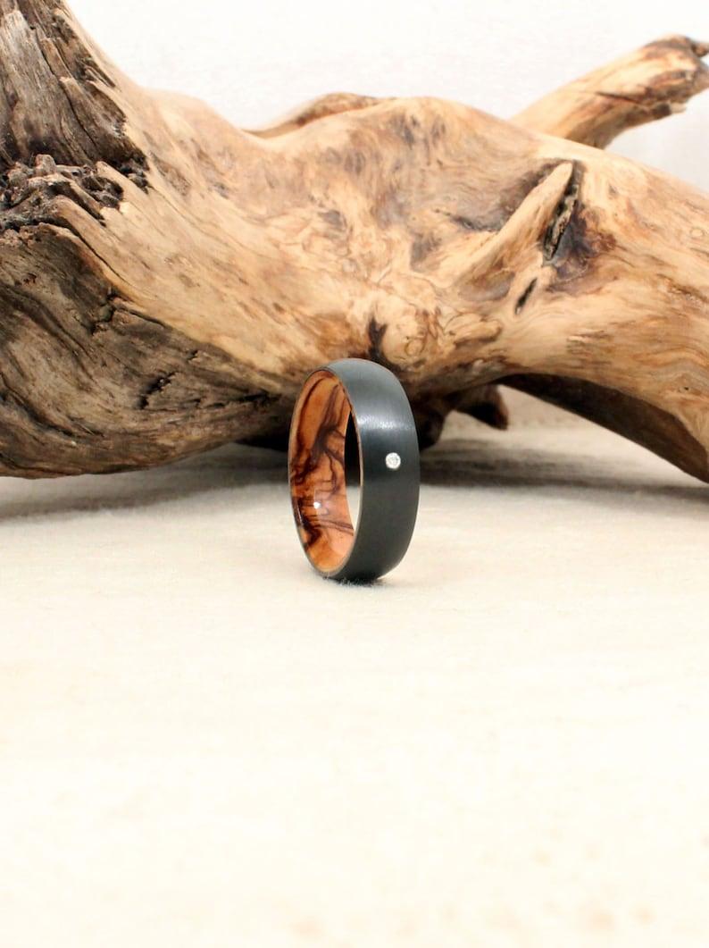 Diamond Inlay Black Zirconium Wood Ring Lined with Bethlehem image 0