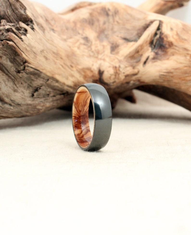 Black Zirconium Wood Ring Lined with Bethlehem Olivewood image 0