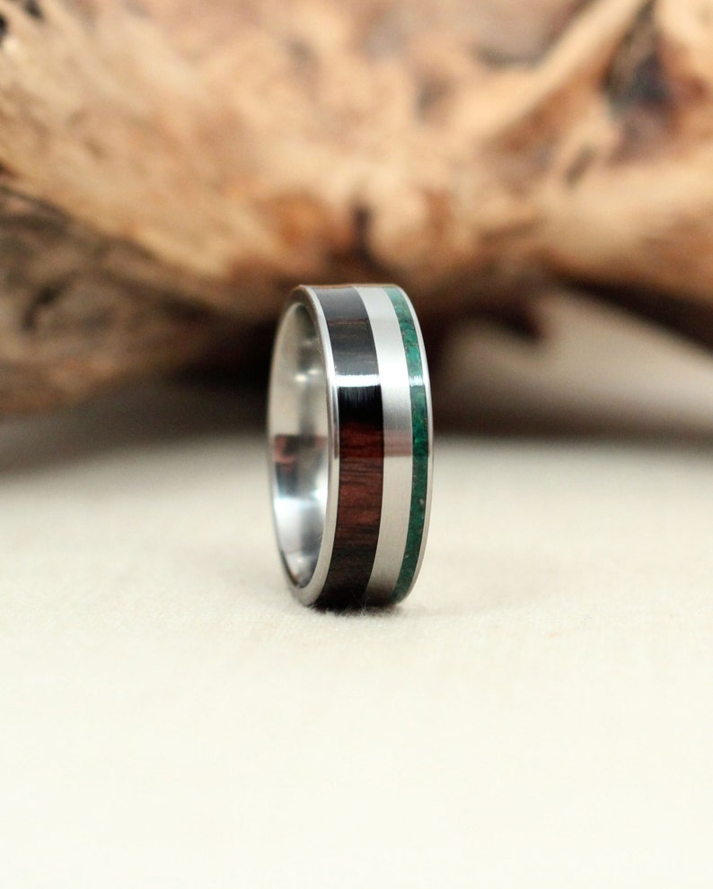 Malaysian Blackwood Wooden Ring and Malachite Deconstructed image 0