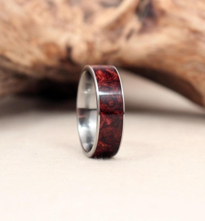 Honduras Rosewood Burl Wood Ring Lined With Titanium image 0