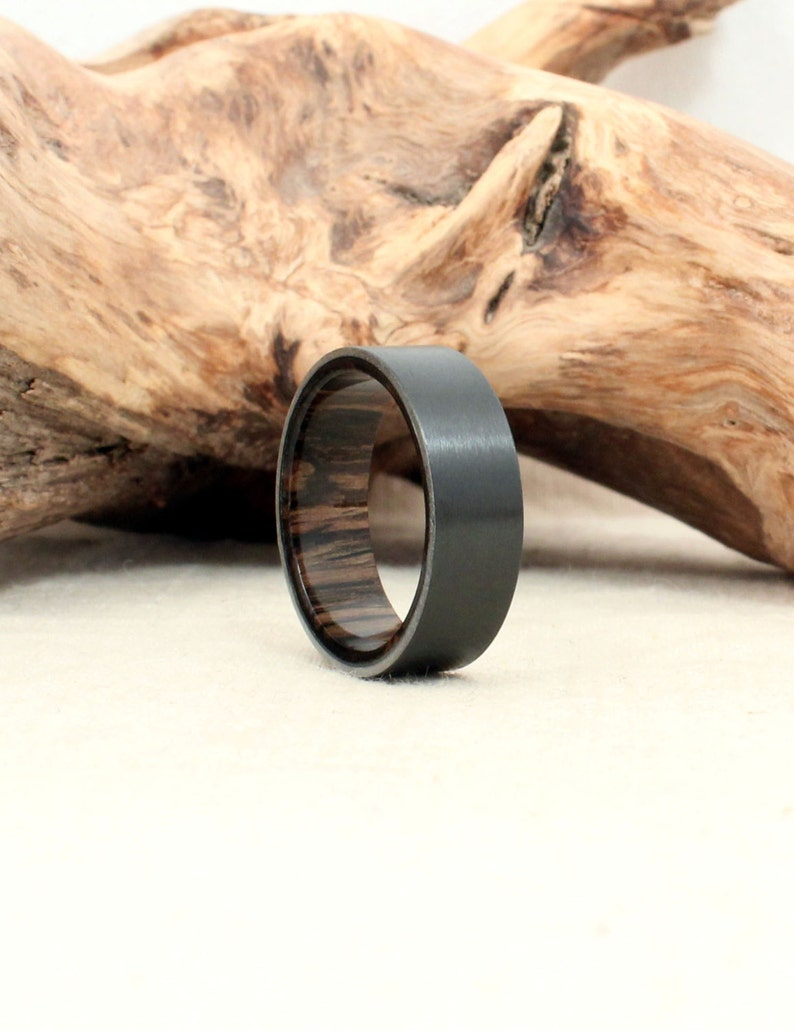 Black Zirconium Wood Ring Lined with Ancient Russian Bog Oak image 0