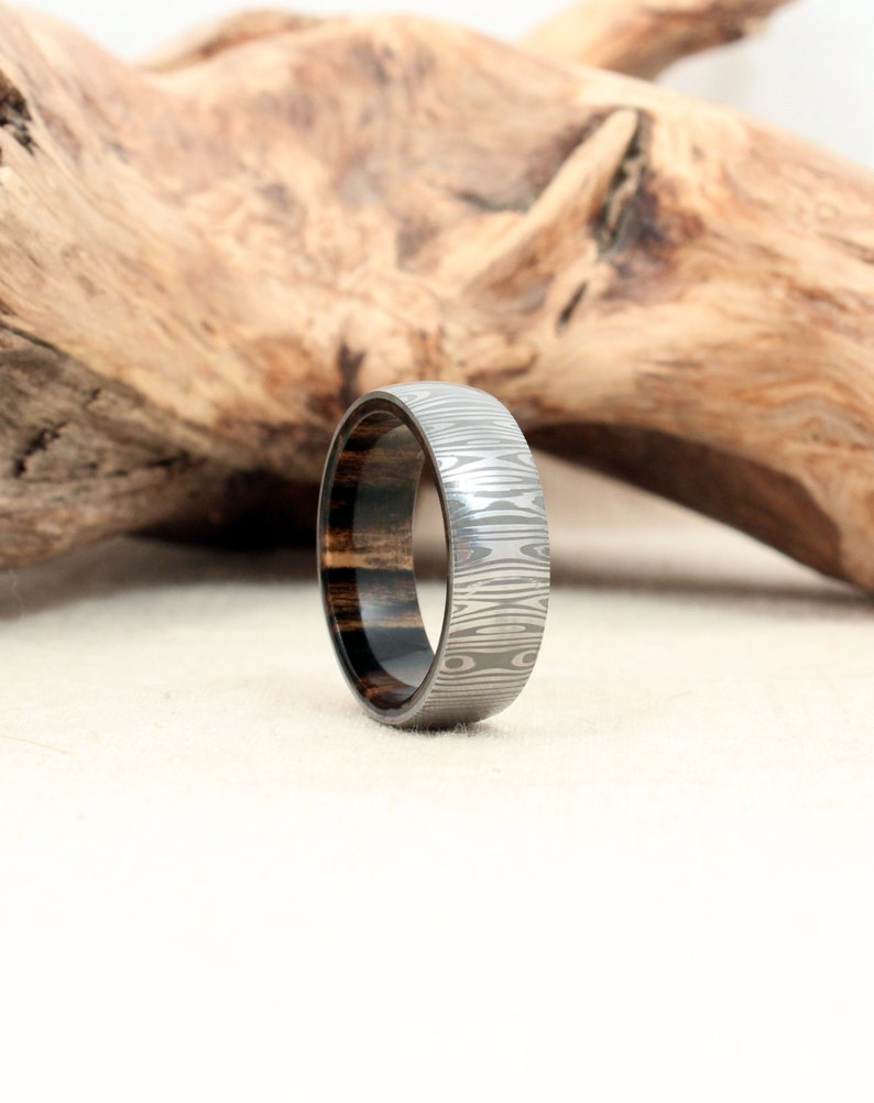 Damascus Steel and Wood Ring  Black and White Ebony Wooden image 0