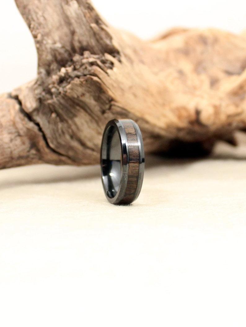 Black Ceramic Ring with Ancient Russian Bog Oak image 0