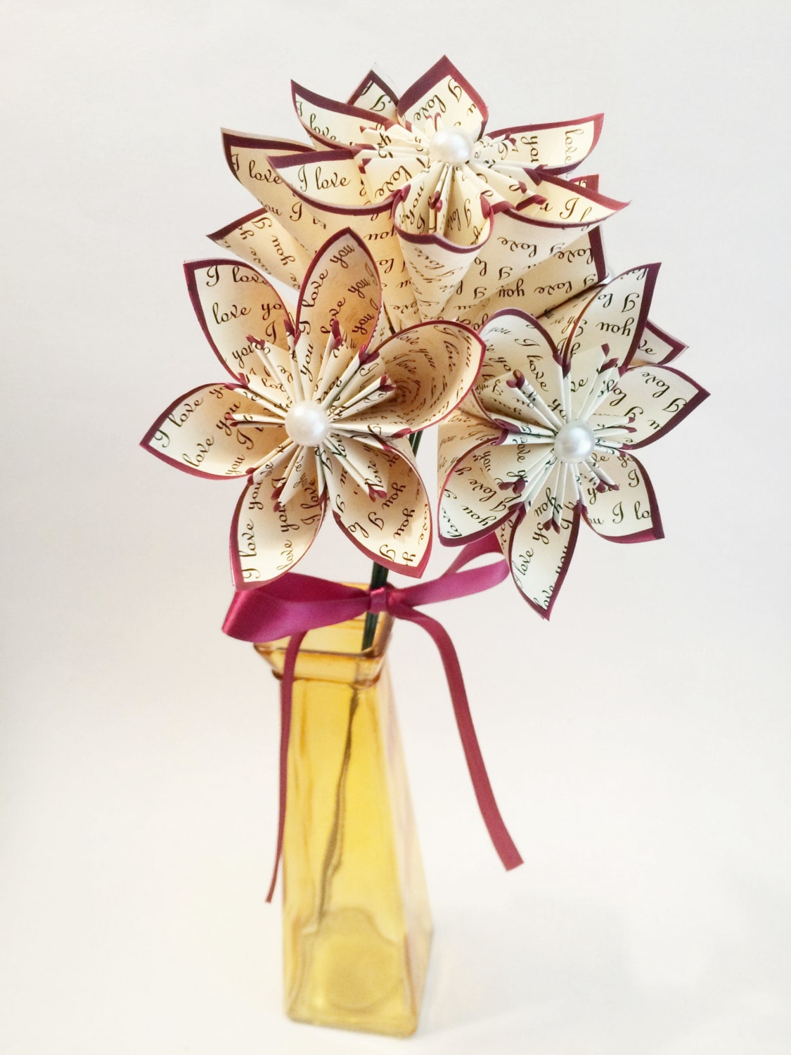 5 I Love You Paper Flowers Ready To Ship Perfect For Her