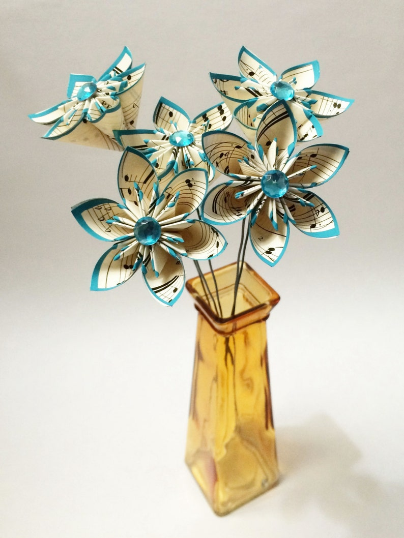 mothers day turquoise anniversary gift wedding decor 5 Sheet Music Paper Flowers- Ready to ship small bouquet handmade