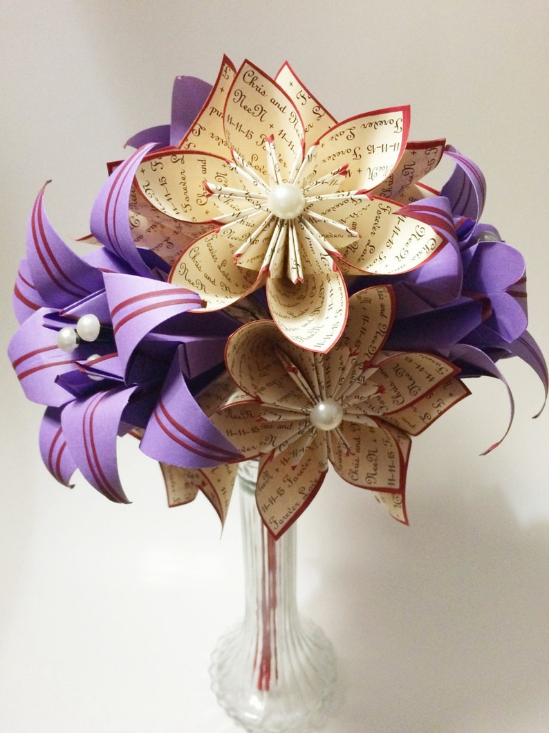 one of a kind origami A Dozen I Love You/'s 1st anniversary bouquet 12 paper flowers with Stargazer lilies custom gifts for her