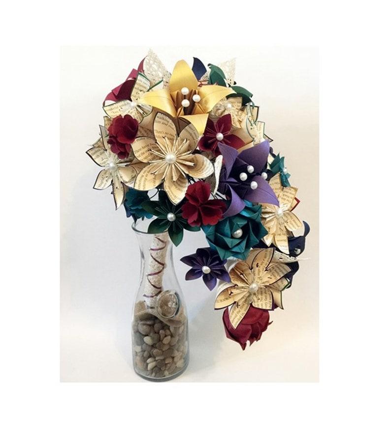 Cascade Book Bouquet Paper Flower Bridal Bouquet One Of A Etsy