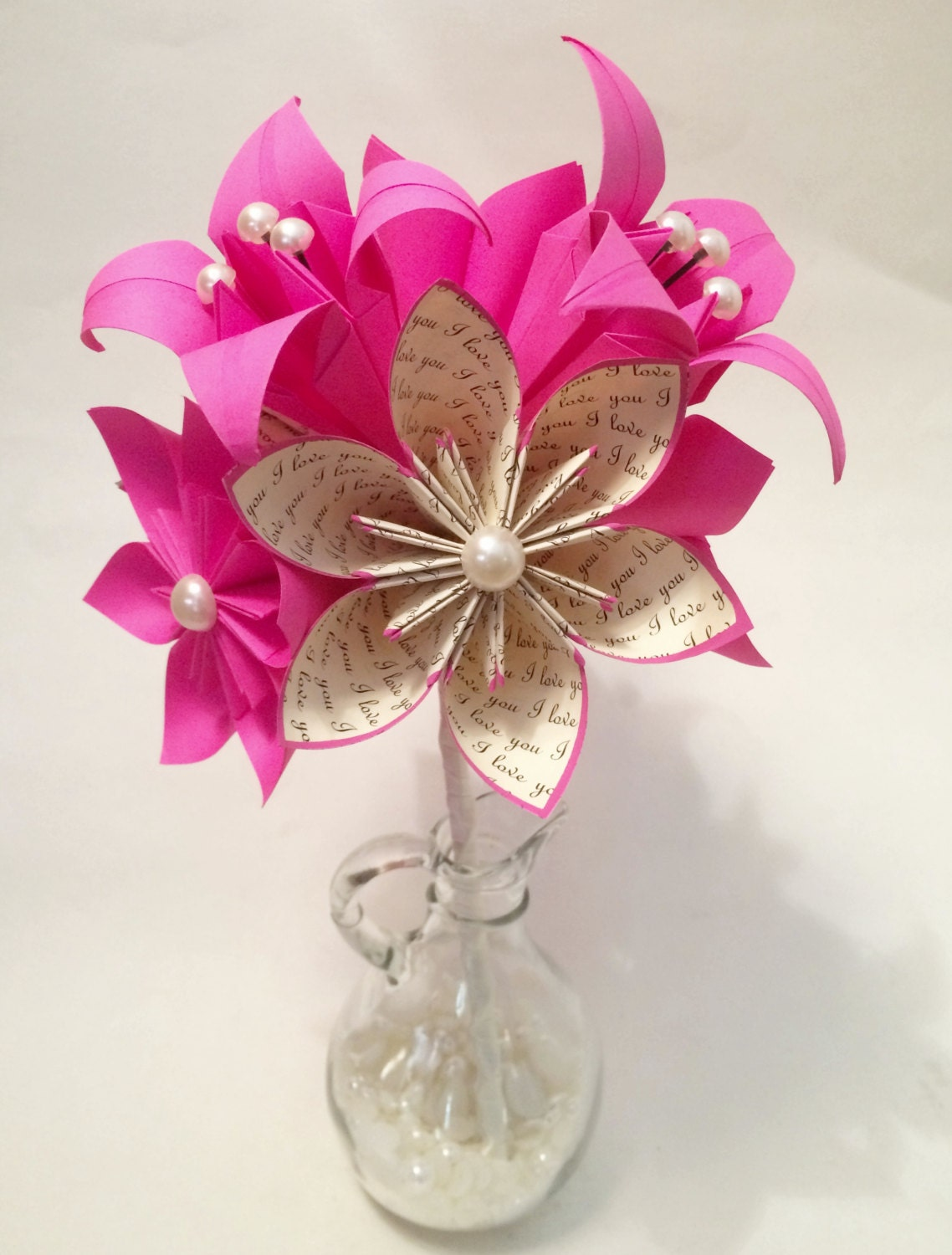 Paper Lily Wedding Bouquet 9 Handmade Paper Flowers One Of A Etsy