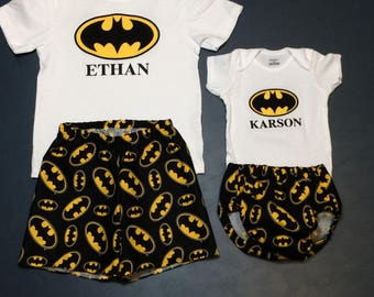 16e44fb859d4d Boys Batman tshirt top shorts boys bodysuit and diaper cover big brother  little brother Newborn 0-3 3-6 6-12 12 month 2T 3T 4T 5T and 6