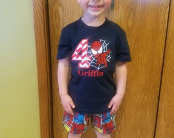 Boys Superhero Birthday Shirt 2T 3T 4T 5T Personalized Spider Man Short Outfit