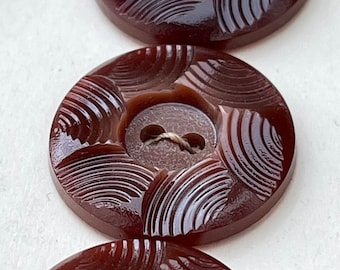 36 Vintage Shiny Chocolate Brown Flower Buttons 18mm