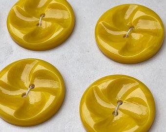 18 Vintage SUNSHINE Yellow Plastic Buttons 20mm