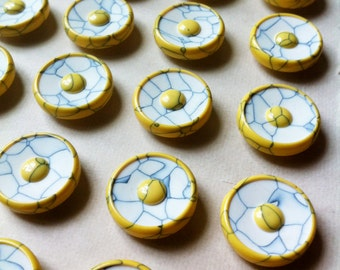 24 Vintage 'Mod' 1950s SUNSHINE Yellow Plastic Buttons 16mm