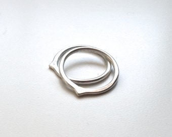 Set of 2 Pointed Sterling Silver Stacking Rings - 14g Hammered Silver Ring - I See Your Point(s) Variation