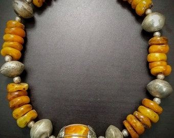 Huge Contemporary Copal Beeswax Amber necklace