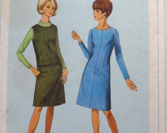 1960s How To Sew Pattern - Size 14, Bust 34 Dart Fitted Dress or Jumper - Simplicity 6652
