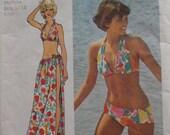 Super Jiffy Bikini and Wrap and Tie Skirt - Vintage 1970s Simplicity 5644 - Size Medium (12-14), Bust 34-36