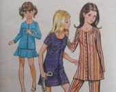 Girls Size 12, Bust 30 Mini Dress or Top, Gored Skirt and Pants - Butterick 5634 Sewing Pattern - Uncut
