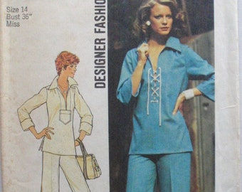 Simplicity 6895 Designer Fashion Sewing Pattern - Pullover Top and Wide Leg Pants - Size 14, Bust 36 - Uncut