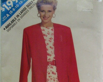 Misses/Misses Petite Unlined Jacket and Dropped Waist Dress Pattern - See and Sew Butterick 6160 - Sizes 6 - 14, Bust 30 1/2 - 36 - Uncut