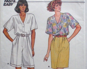 Butterick 3821 - Button Front Top and Pleated Shorts Sewing Pattern - Sizes 12-14-16, Bust 34 - 38