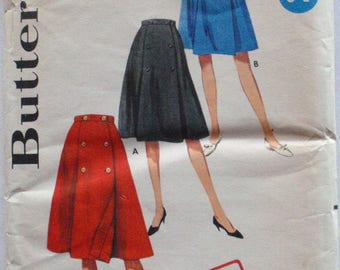 Women's 1960's  Coachman Wrap Skirt Sewing Pattern - Butterick 5147 - Waist 26 - Uncut
