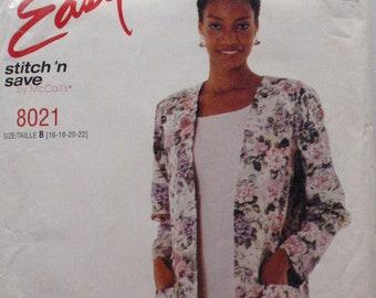 McCall's 8021 Easy Stitch 'n Save Sewing Pattern - Boxy Jacket and Sleeveless Dress - Sizes 16-18-20-22, Bust 38 - 44 - Uncut