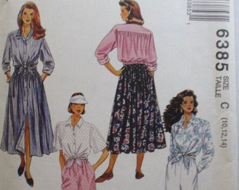 Button Front Shirt, Skirt, Pull-on Pants and Shorts Sewing Pattern - McCall's 6385 - Sizes 10-12-14, Bust 32 1/2 - 36 - Uncut