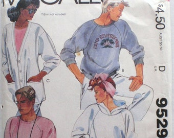 McCall's 9529 - Men's and Women's Knit Sweatshirt, Hoodie and Cardigan Sewing Pattern- Size Small, Bust/Chest 32 1/2 - 34
